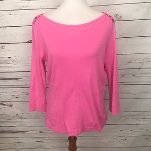 Lilly Pulitzer 3/4 Sleeve Top Pink Size Large